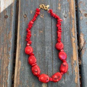 Vintage Kenneth Lane Coral Nugget Choker Necklace